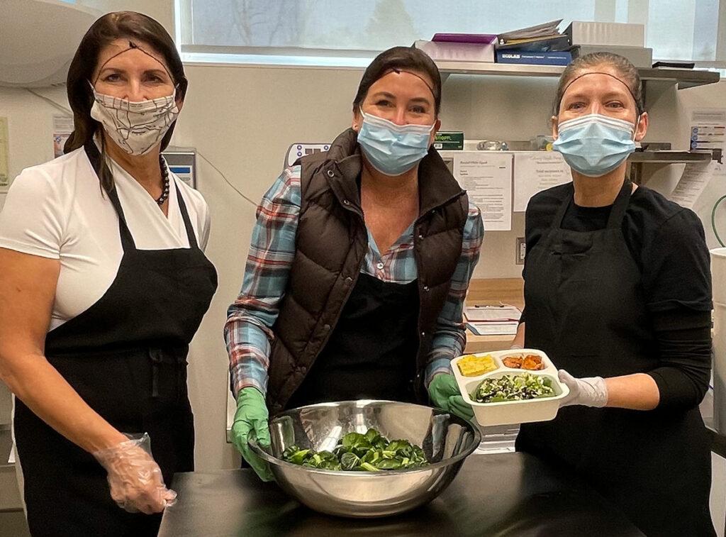 Chef Claudia Castillo Holley joins Pleasanton Mayor Karla Brown and Culinary Angels Executive Director Lisa McNaney